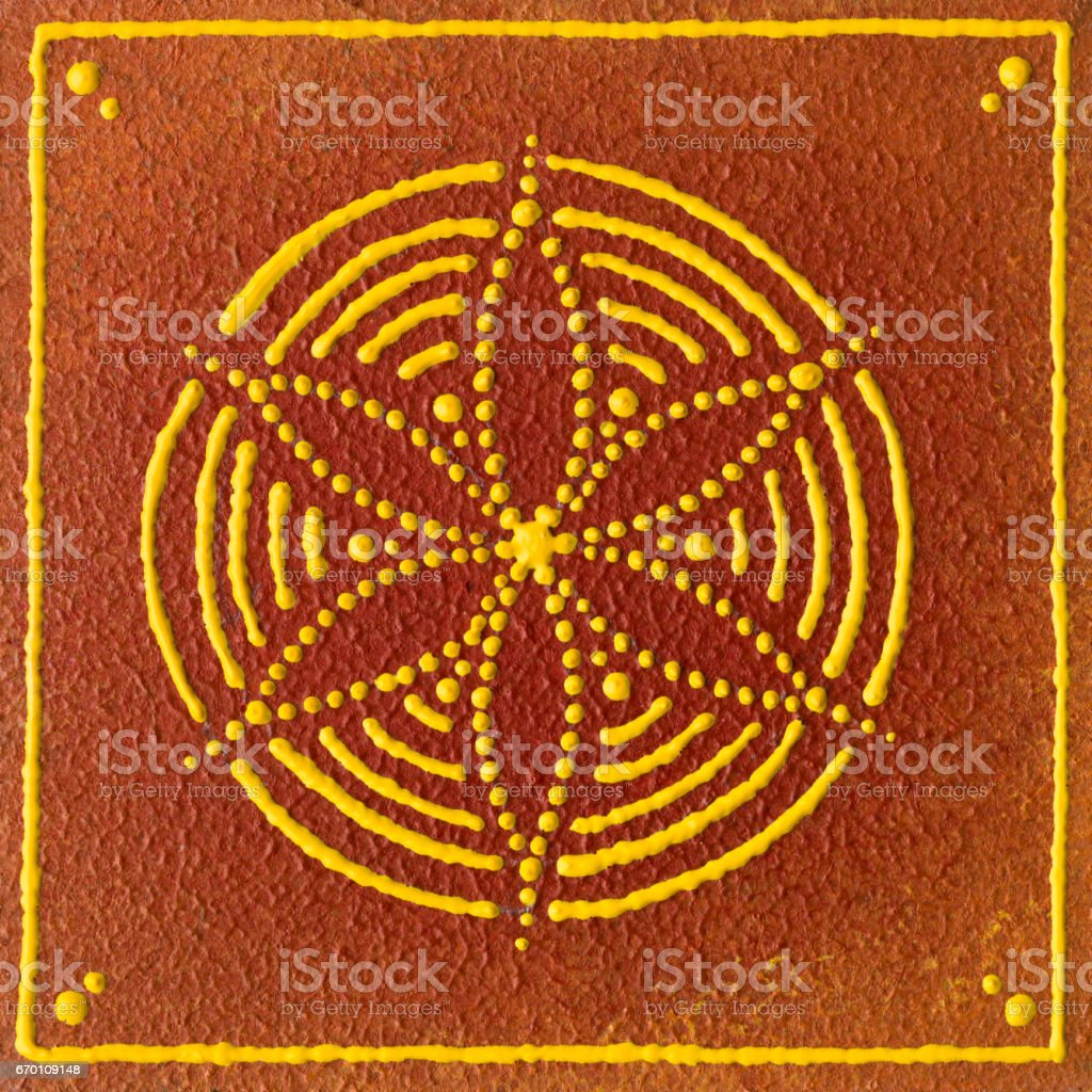 flower of life yellow brown orange stock photo