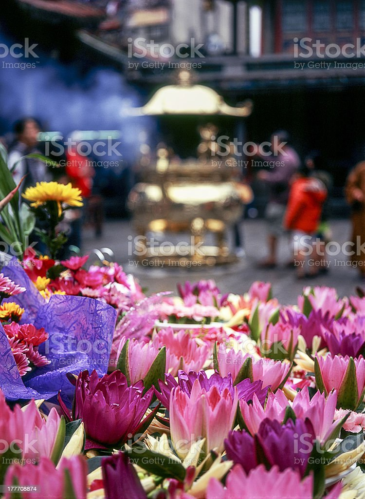Flower Offerings At Lungshan Temple stock photo