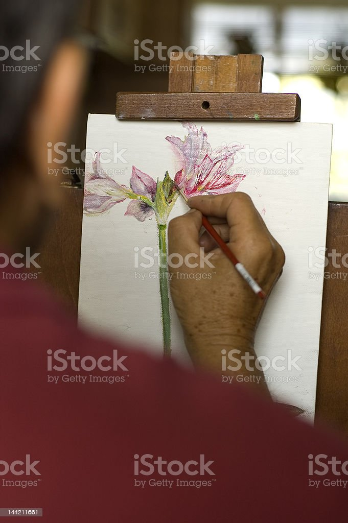 Flower Oil Painting In Progress royalty-free stock photo