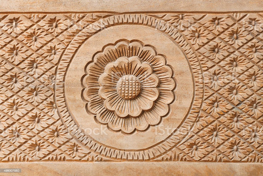 Flower on carved wood for decoration stock photo