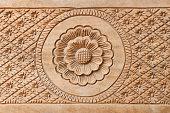 Flower on carved wood for decoration
