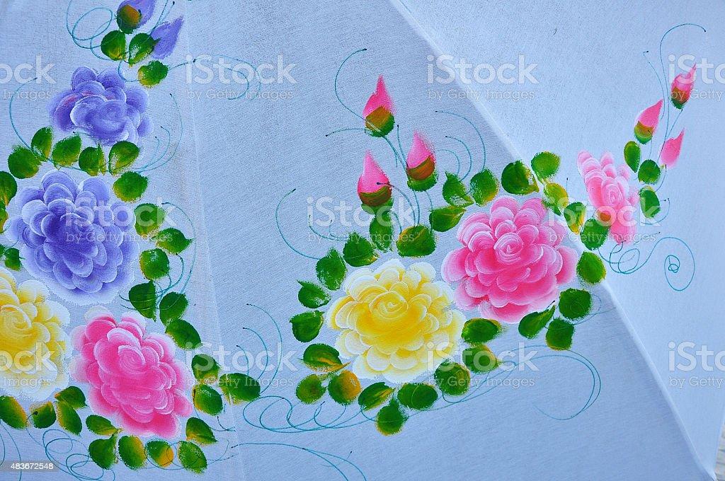 Flower painting on umbrella stock photo