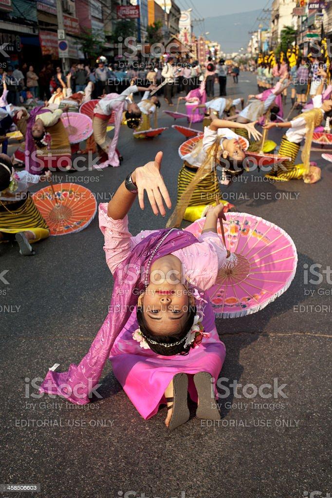 Flower Parade Umbrella Dance royalty-free stock photo