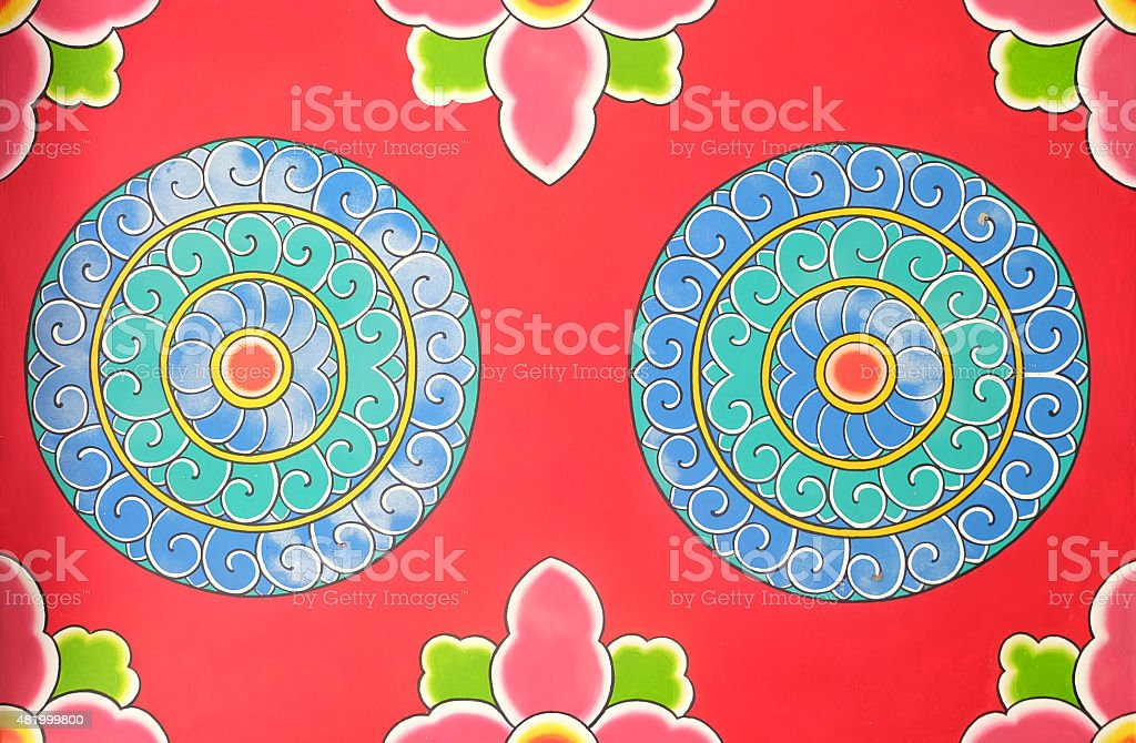 flower pattern chinese wall stock photo