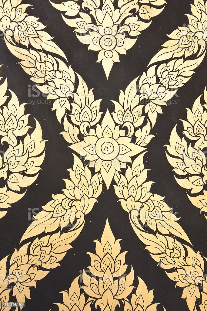 flower pattern in traditional Thai style art painting on window royalty-free stock photo