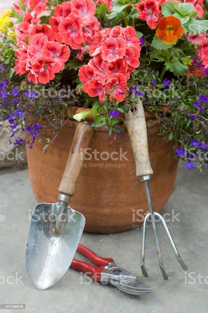 Flower Planter & Garden Tools #1 royalty-free stock photo