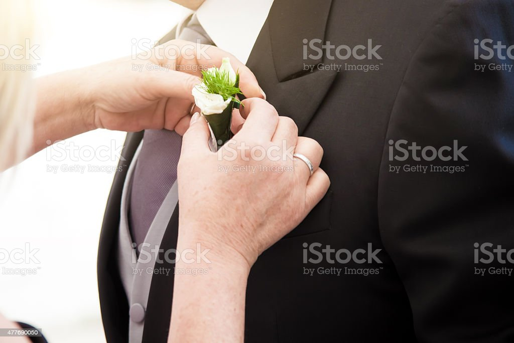 Flower Pocket for ceremony stock photo