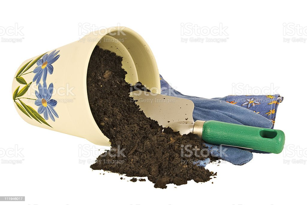 Flower Pot and Dirt royalty-free stock photo