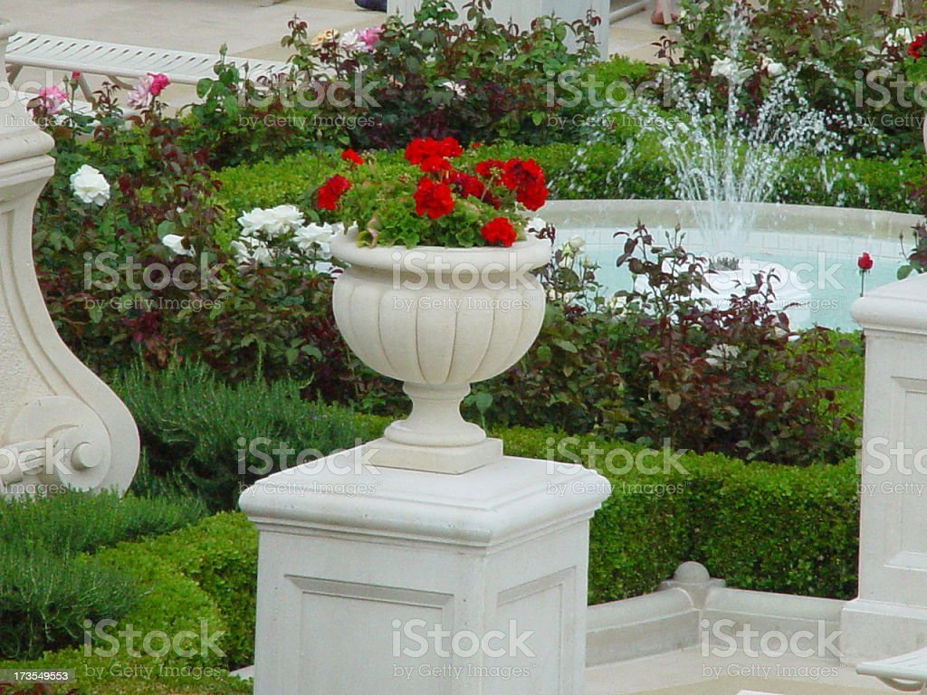 Flower Pot and Fountain royalty-free stock photo