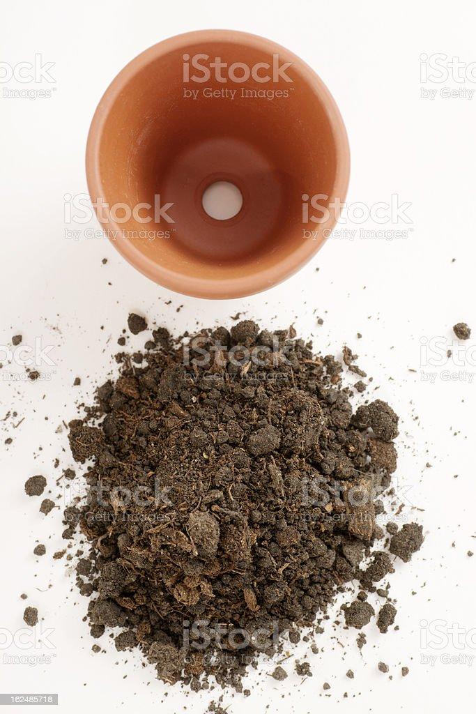 Flower Pot and Potting Soil stock photo