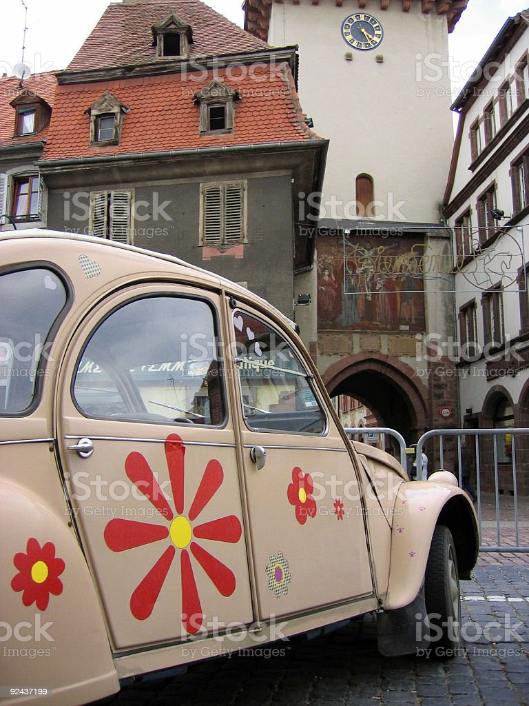 flower power vintage french car Citroën 2CV royalty-free stock photo