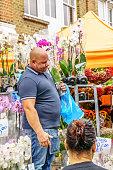 Flower seller at London street market
