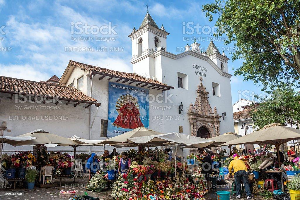 Flower Sellers in Cuenca, Ecuador stock photo