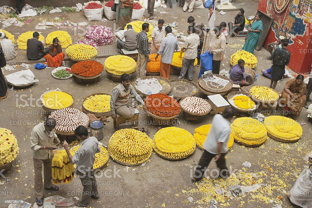 Flower sellers, India royalty-free stock photo