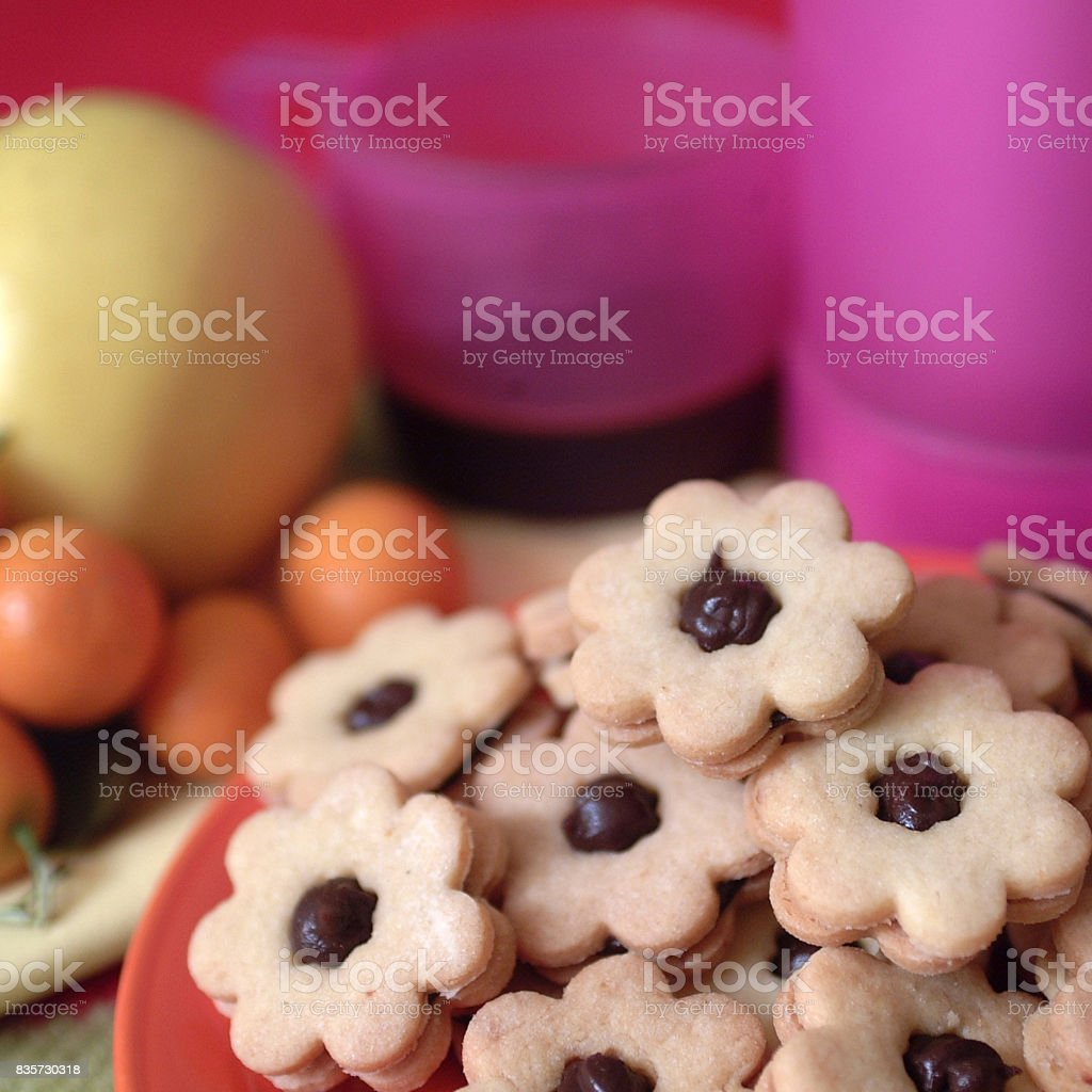 Flower shaped chocolate biscuits stock photo