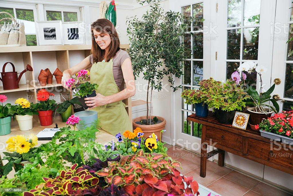 Flower Shop and Garden Center Small Business Entrepreneur Owner Hz royalty-free stock photo