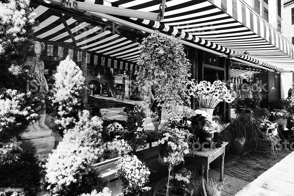 Flower Shop. Boston. Black And White royalty-free stock photo