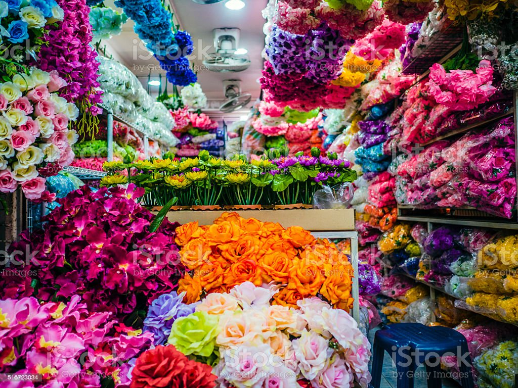 Flower shop Chatuchak market Bangkok stock photo