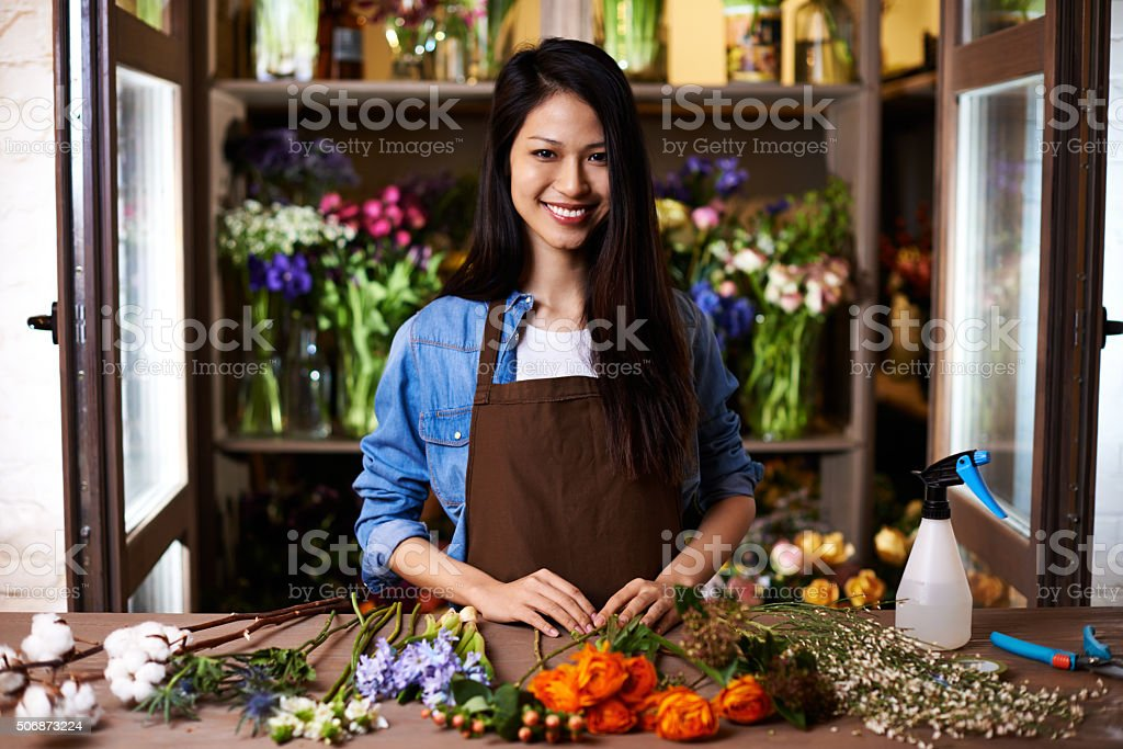 Flower shop owner stock photo