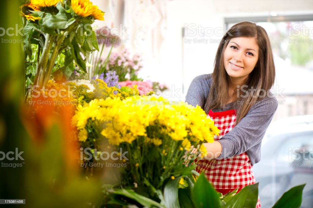 flower shop trainee stock photo