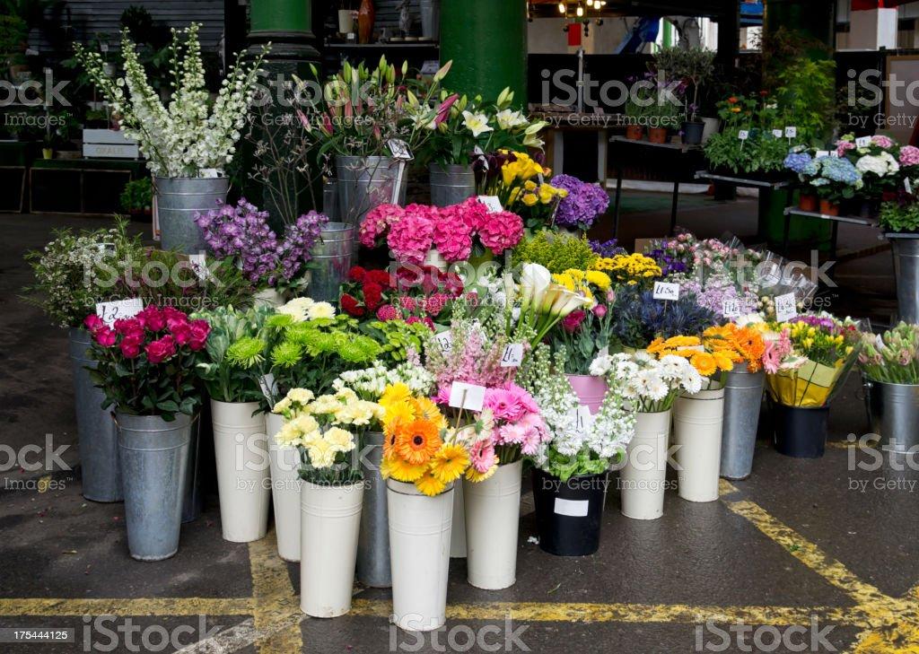 Flower stall stock photo
