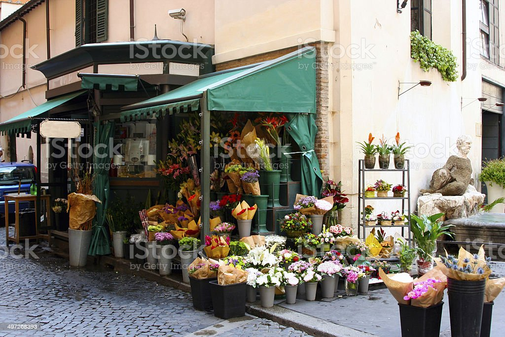 Flower stand in Rome stock photo