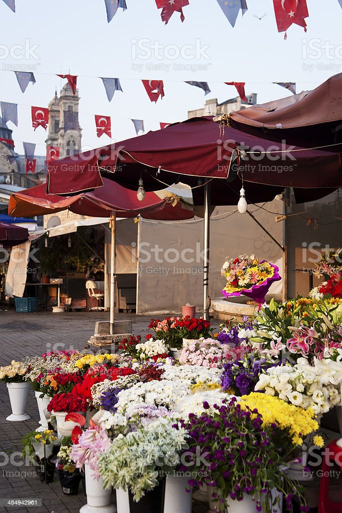 Flower stand, Taksim Square stock photo