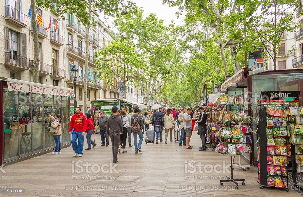 Flower stands in La Rambla street, Barcelona stock photo
