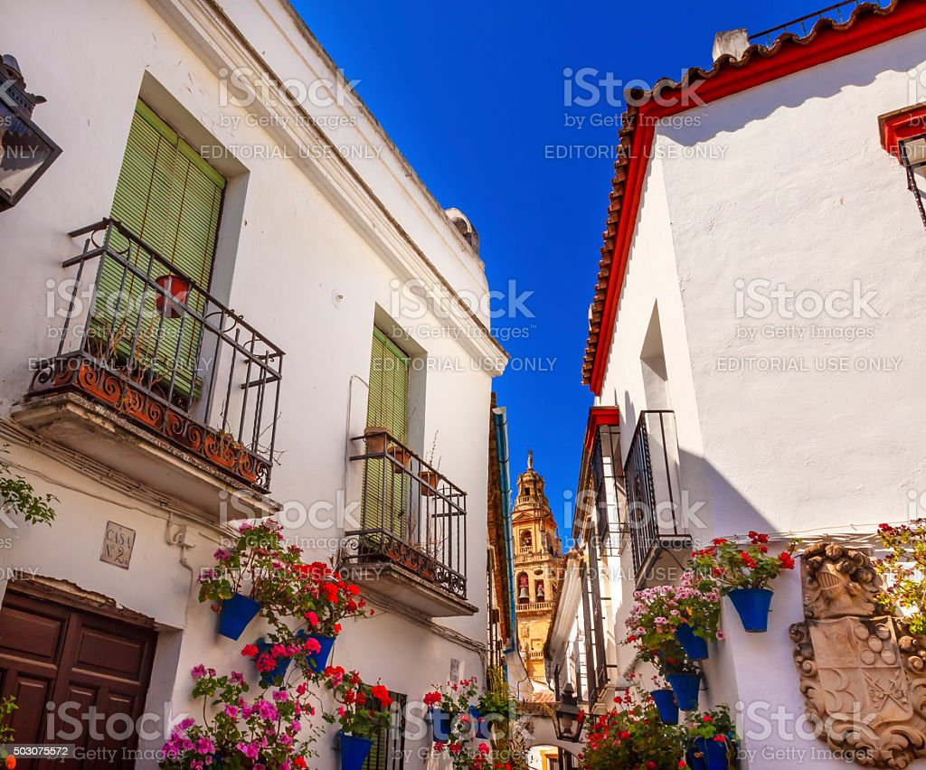 Flower Street Torre del Aliminar Tower Mezquita Cordoba Spain stock photo