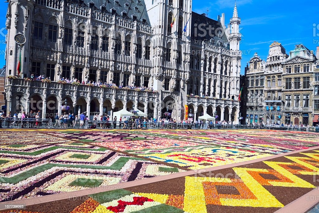 Flower summer at Grand Place stock photo