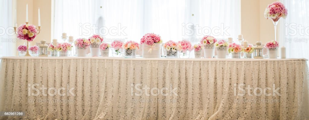 Flower table wedding decoration stock photo