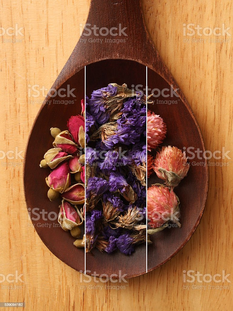 Flower teas composite stock photo