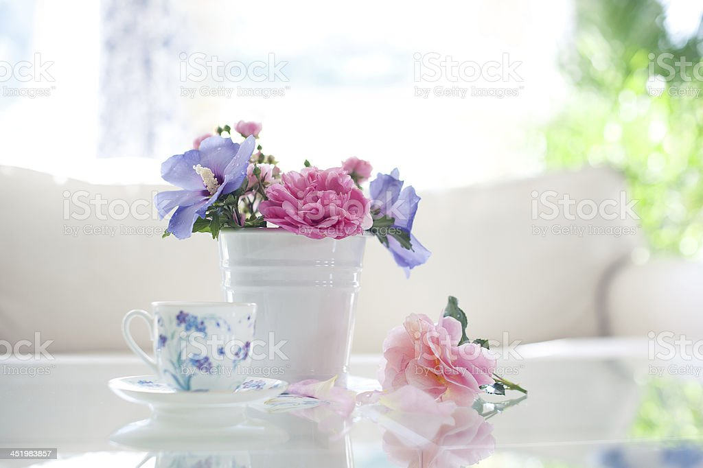 Flower vase with cup stock photo