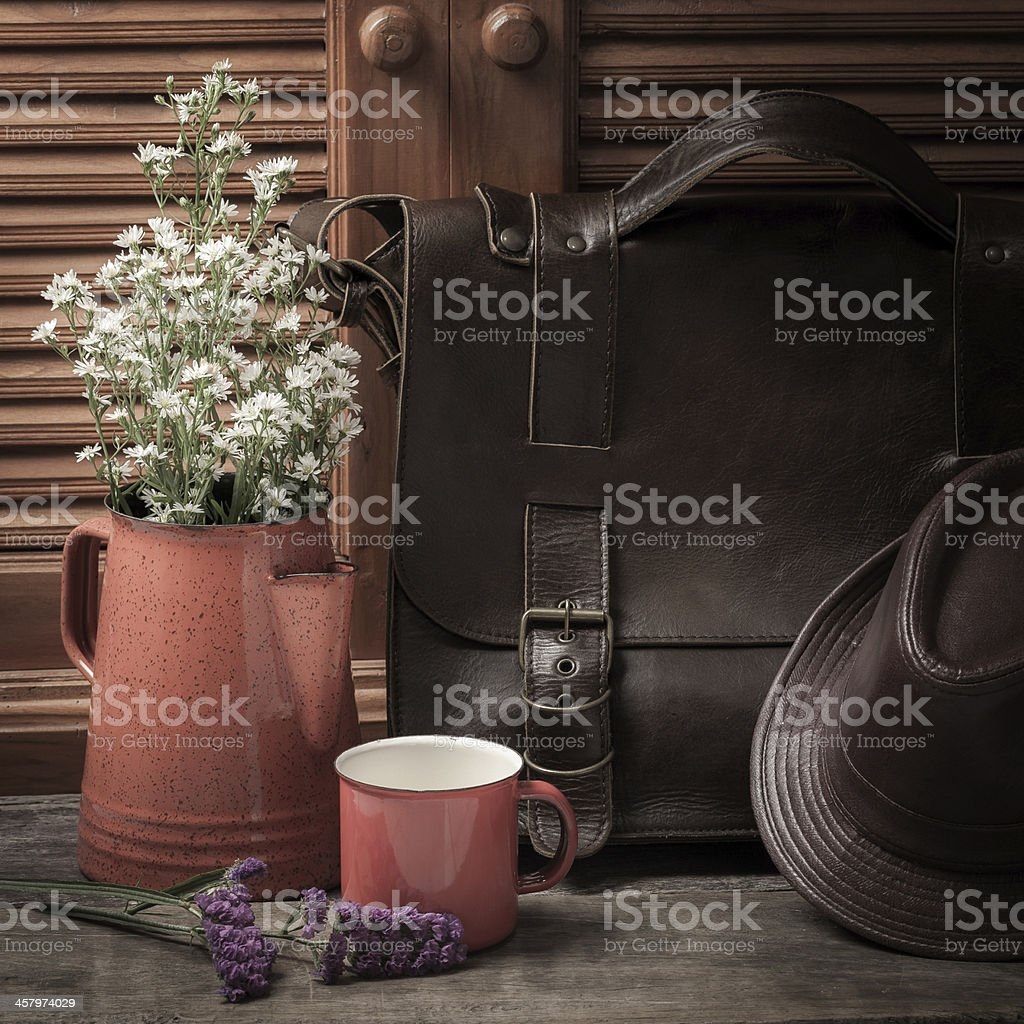 Flower vase with leather stock photo