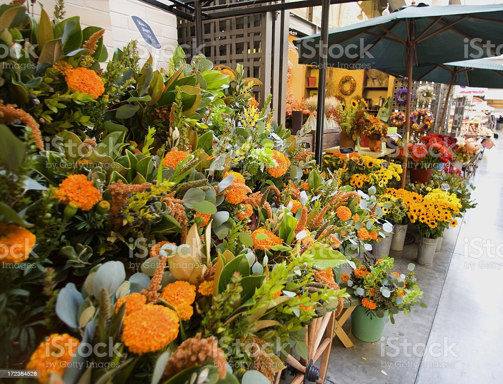 Flower vendor inside the Ferry Building, San Francisco royalty-free stock photo