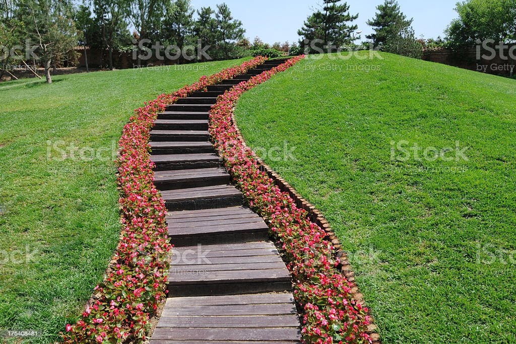 Flower Way on Golf Course royalty-free stock photo