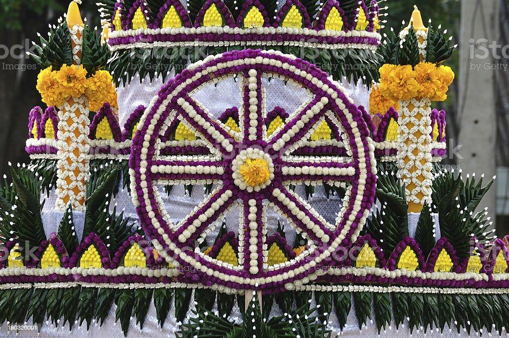 Flower Wheel of Dhamma stock photo
