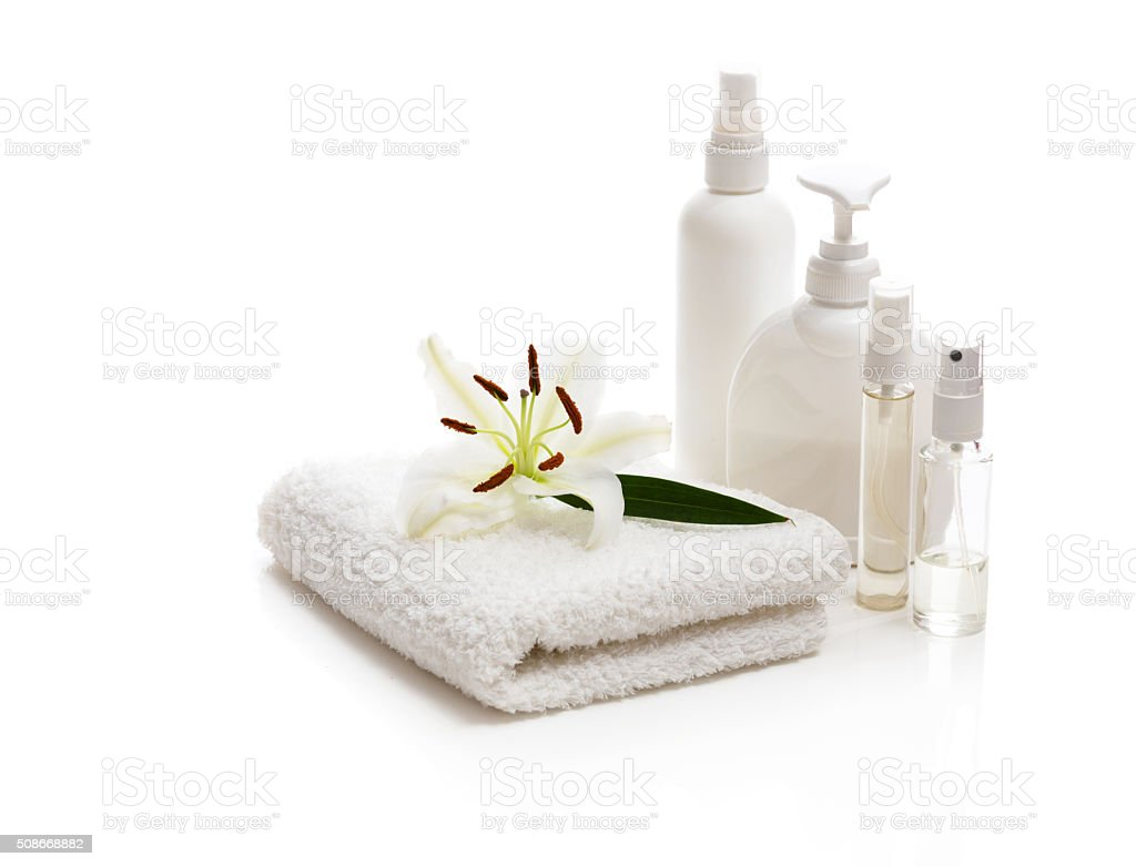Flower white Lily lying on a towel stock photo