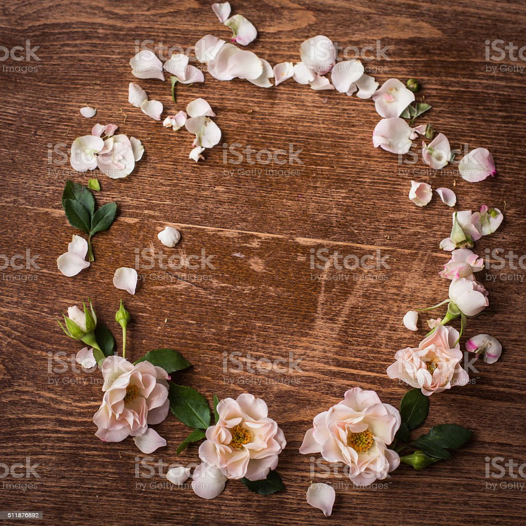 Flower wreath  with space for text in the middle stock photo