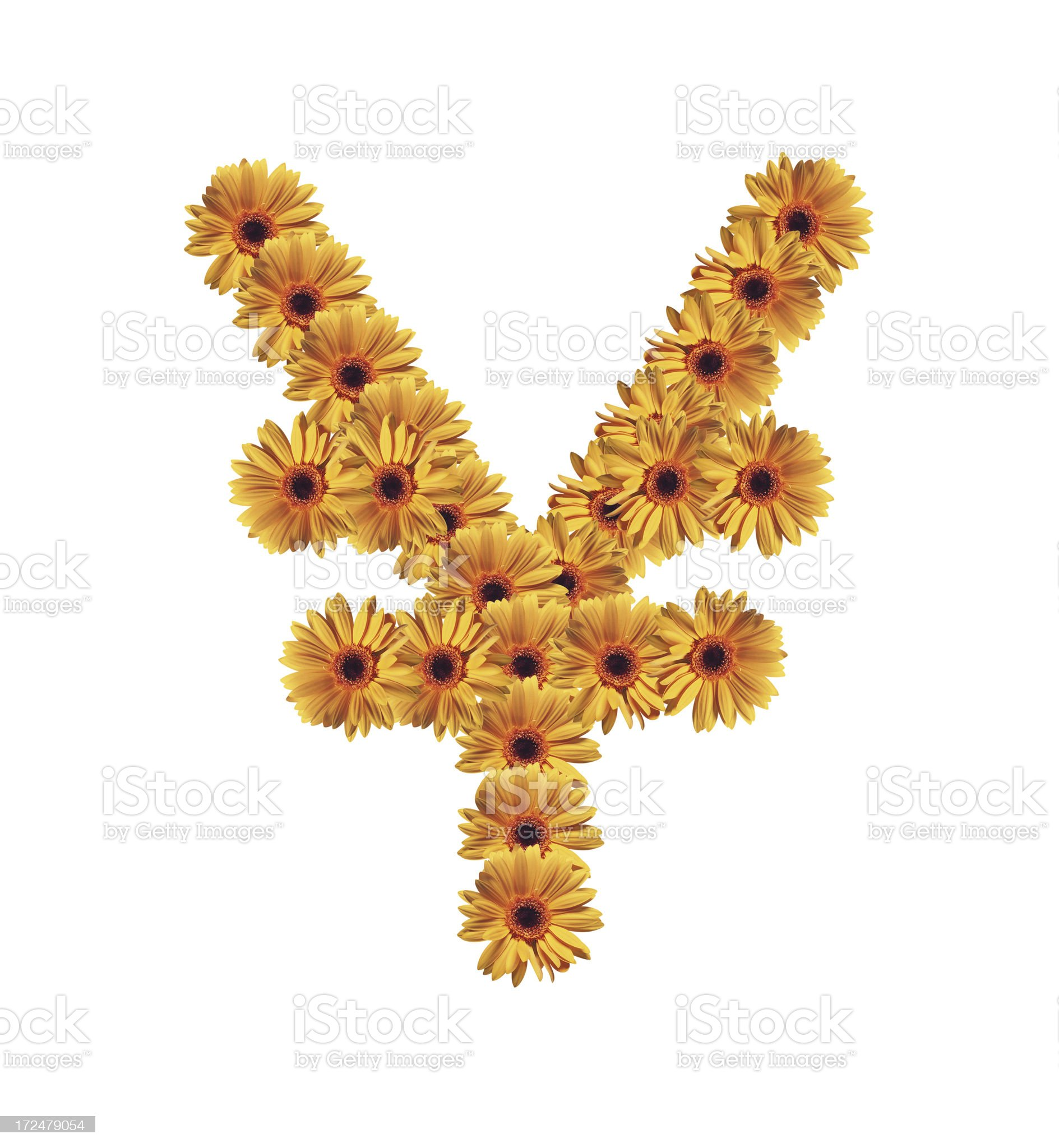 Flower Yen Symbol royalty-free stock photo