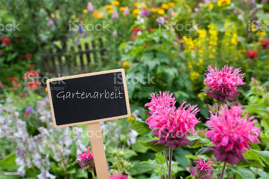 Flowerbed - Shield - Gardening stock photo