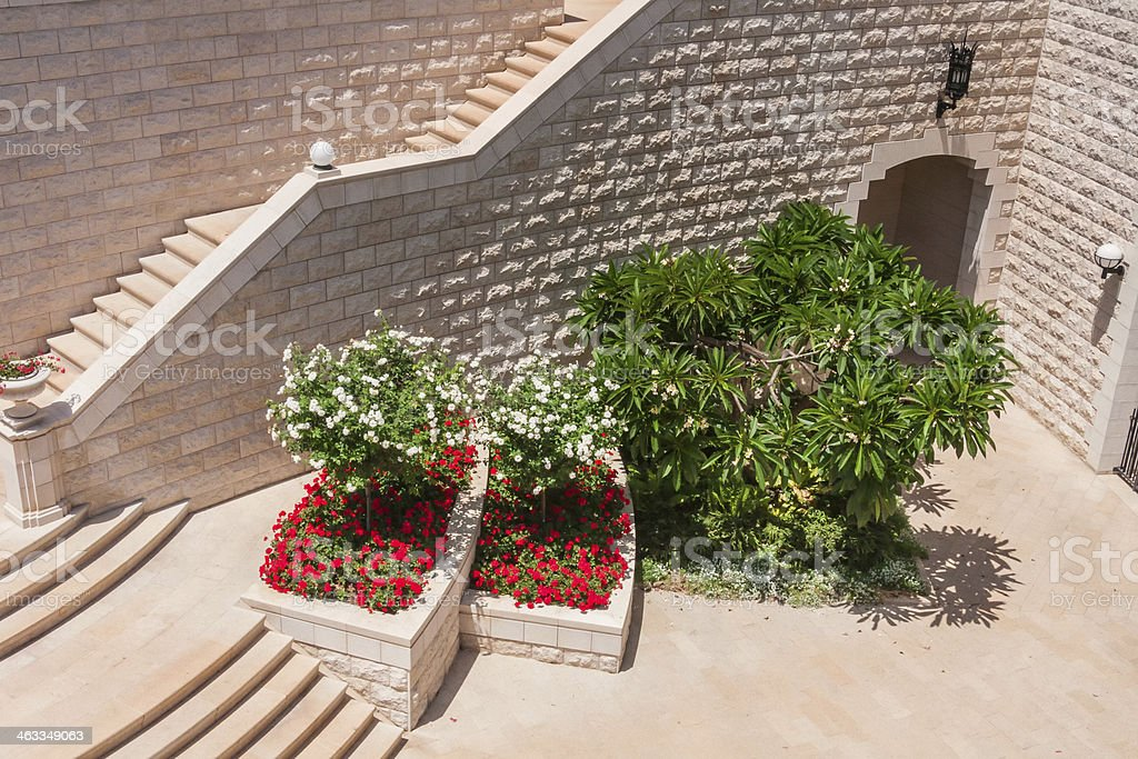 Flowerbed with blossoming flowers and tree near break stairway wall stock photo