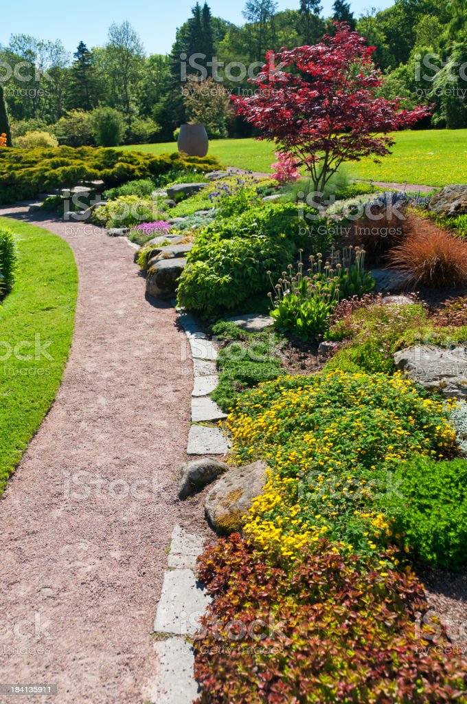 Flowerbeds and gravel path royalty-free stock photo