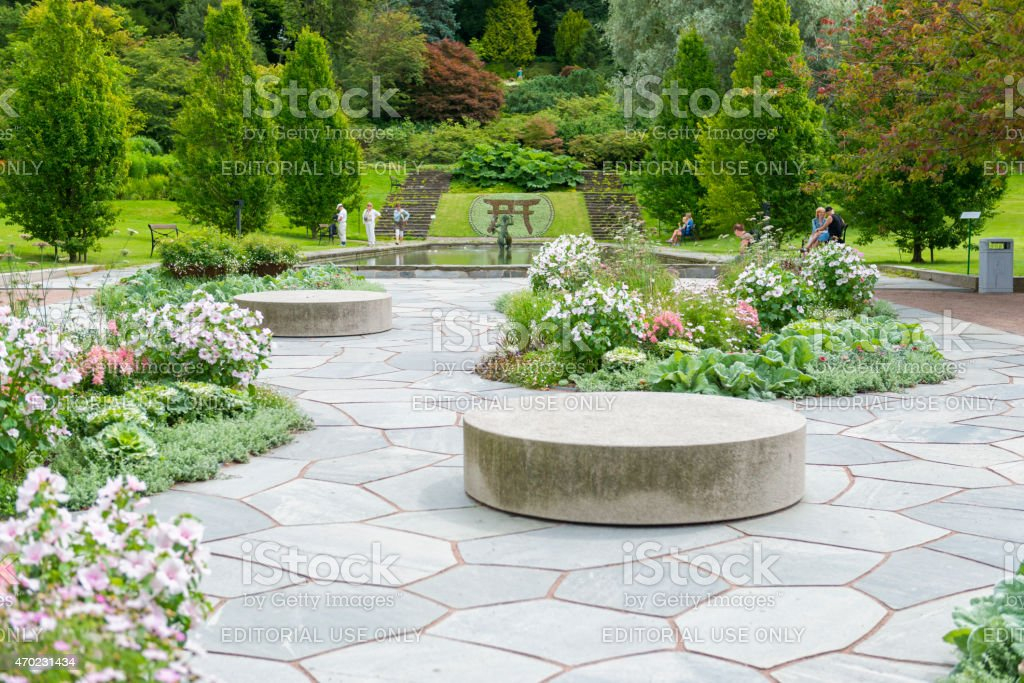 Flowerbeds and slates in Gothenburg Botanical Garden stock photo
