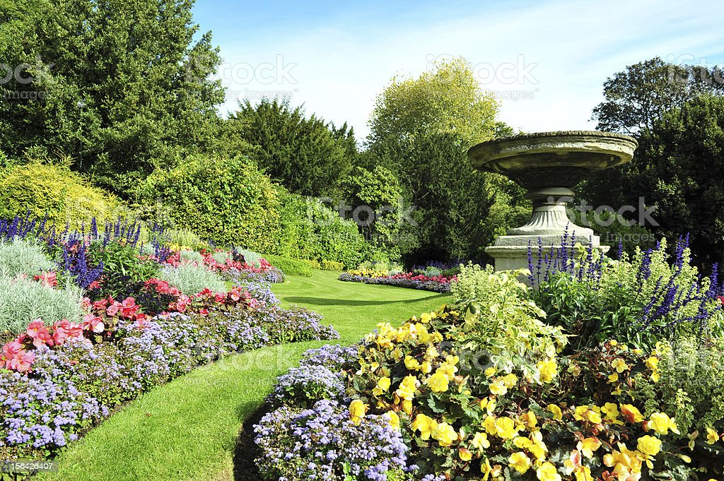 Flowerbeds in a Formal Garden stock photo