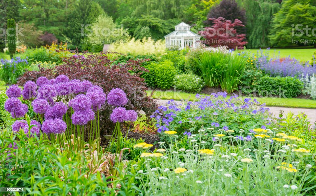 Flowerbeds in park stock photo