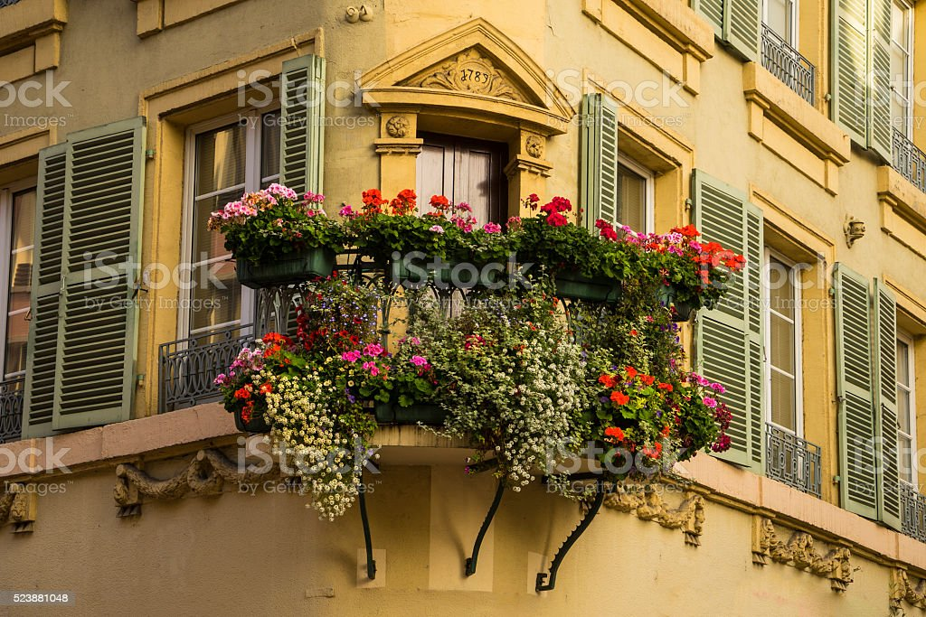 Flowerbox in Colmar, France stock photo