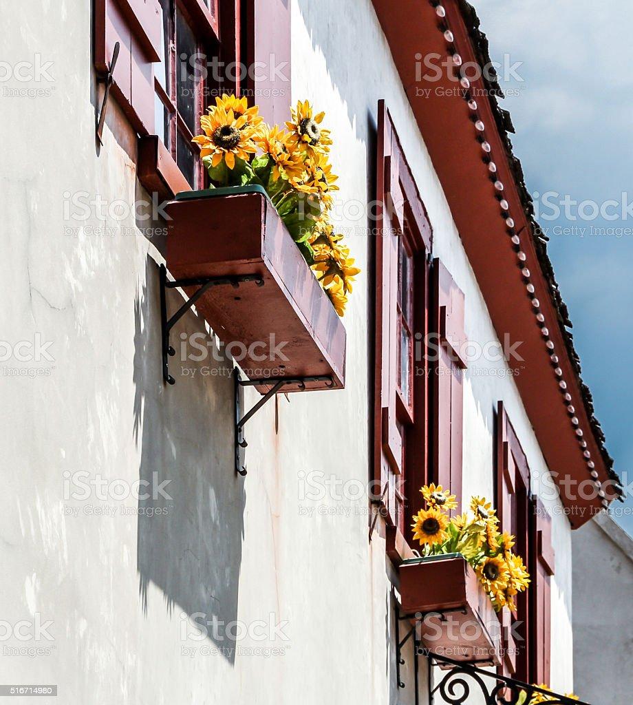 Flowerboxes stock photo