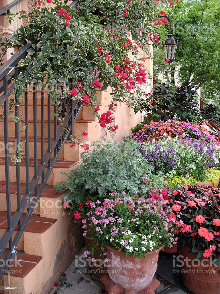 Flower-Draped Stairs royalty-free stock photo