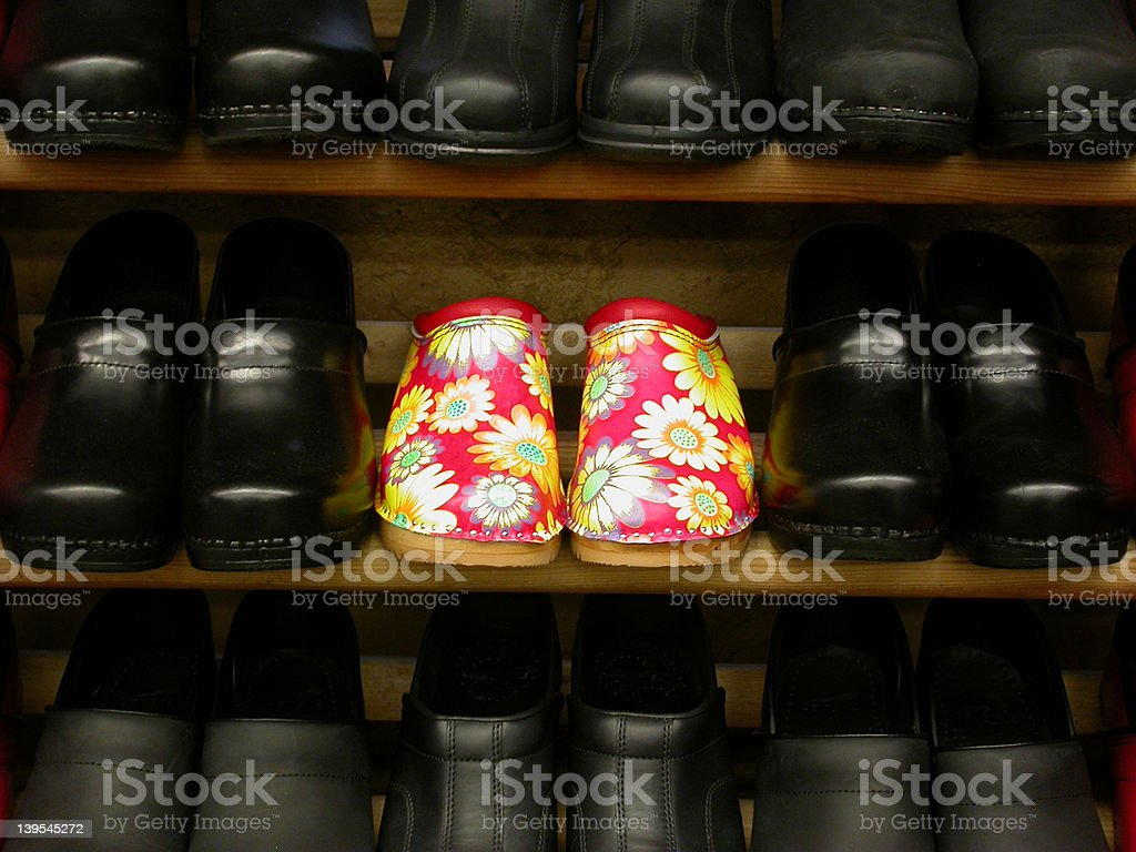 Flowered Clogs royalty-free stock photo